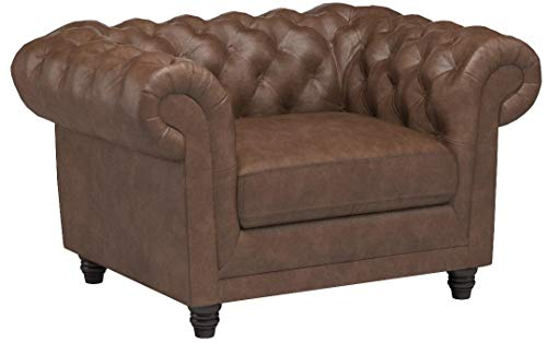 Stone & Beam Bradbury Chesterfield Tufted Leather Accent Arm Chair, 50