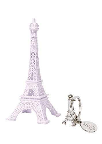 SICOHOME Eiffel Tower, 7.0inch,White Metal Paris Eiffel Tower Wedding Cake Topper