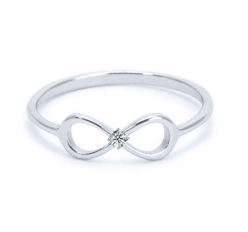Heavy Casted 925 Sterling Silver Infinity Ring-Centered High Quality CZ Stone Available in Sizes 4-10 (10)