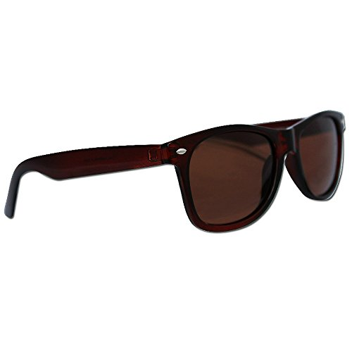 Polarized Wayfarer Sunglasses by Eye Love Lightweight 100% UV Protection (Brown)