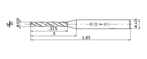0.66 mm Cutting Dia 3.175 mm Shank Dia. 0.14 mm Point Length Internal Coolant 5 mm Hole Depth Mitsubishi Materials MWS00260LB MWS Series Solid Carbide Drill