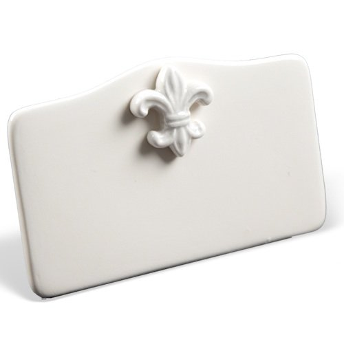 Place Tile Designs Set of 6 Fleur de Lis Dry-erase Ceramic Place Card