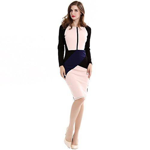 GWELL Elegant Damen Bodycon Langarm Etuikleid Business Cocktailkleid ...