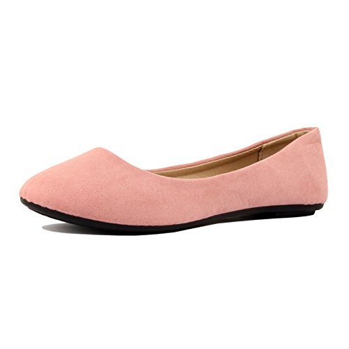 Flats Ballet Classic (Womens Pointy Toe Slip On Classic Ballet Flat Flats-Shoes, 01 Mauve Suede, 5.5)