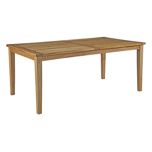 Modway Marina 72″ Teak Wood Outdoor Patio Dining Table in Natural