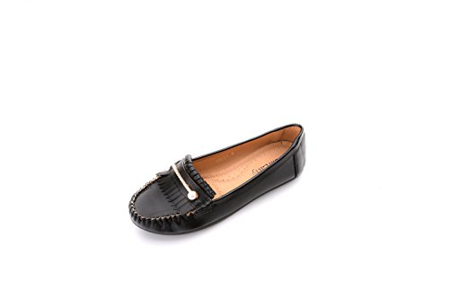 Mila Lady Comfortable Causal Slip on Loafers Tassels Rhinestone Pearl Moccasin Driving Flat Shoes for Women, Cally Black PU Size 9.0 by Mila Lady