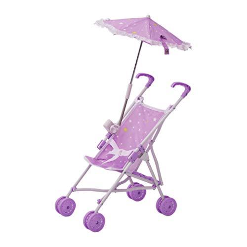 Olivia's Little World Twinkle Stars Princess Baby Doll Stroller, Purple/White