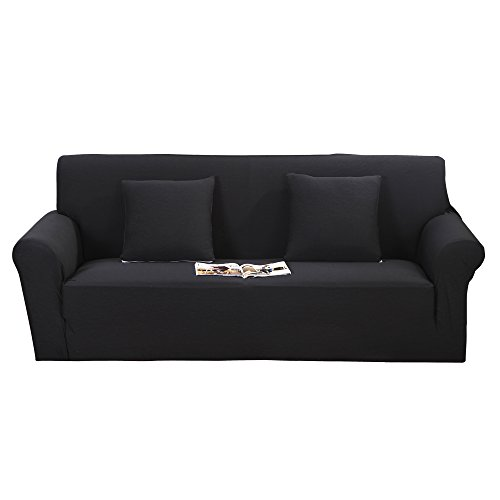 Mr.You Sofa Slipcover 1-piece Knit Jacquard Fbaric Sofa Cover£¨Black,Sofa)