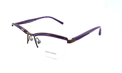 Alain Mikli Rx Eyeglasses Frames A02023 E239 53x16 Dot Violet Matte Brown - Glasses Dots With Three