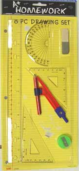 Drawing / Math - 8 Piece Set [48 Pieces] *** Product Description: Drawing / Math - 8 Piece Set. Includes: Ruler, Compass, Protractor, Eraser, 2 Triangles, Sharpener, Pencil. *** by DDMA