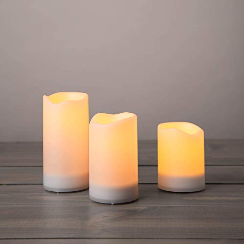 Outdoor Solar Powered Candles - Waterproof LED Flameless Candles, 3 Inch Diameter, Flickering Warm White Light, Dusk to Dawn Timer, Rechargeable Battery Included - Set of 3 (Best Rated Window Candles)