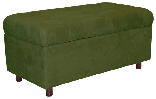 Belden Tufted Storage Bench by Skyline Furniture in Sage Micro-suede (Suede Bench Upholstered)