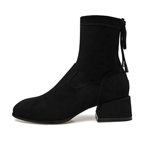 Moda Boda Para De Media Mujer Noche Pierna Tacón Vestir Zapatos Y Grueso Otoño Gamuza Yan Un A Formales Botas E1qncxWv57