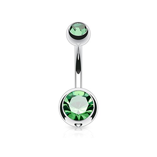 Covet Jewelry Double Jeweled 14GA 316L Surgical Stainless Steel Navel Rings (Length: 10mm, Ball: 5 & 8mm, Emerald) - Emerald Belly Button Ring