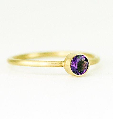 (14k Gold Amethyst Birthstone Stack Ring - Choose Your Gemstone - YG/RG/WG)
