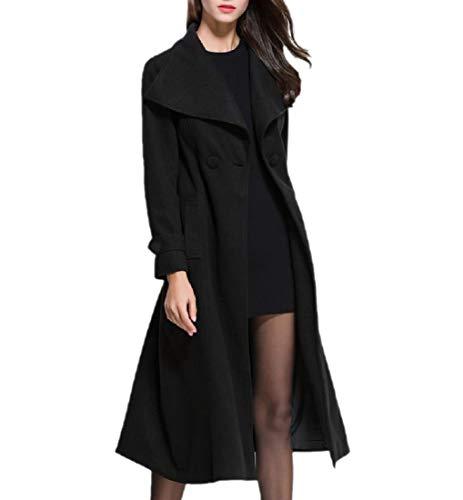 Lana Donna Invernale Da Nero Parka Colletto Outwear In Rovesciabile XwZ1q1