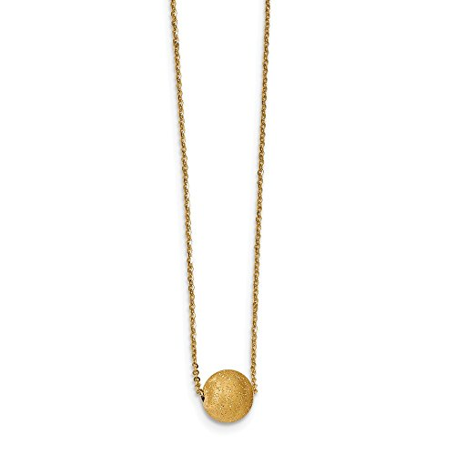 Solid 14k Yellow Gold Glitter Ball with 1.5 in ext Necklace Chain (14k Yellow Gold Ball Necklace)
