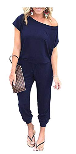 - ANRABESS Women's Sexy Off Shoulder Elastic Waist Jumpsuit Rompers Cxiejian-Navy-M BYF-33