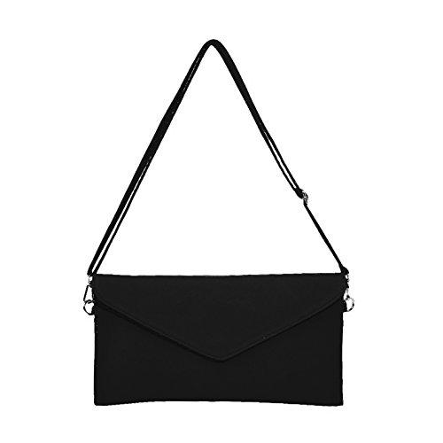 messenger Faux sac Jieway à Suede Embrayage épaule sacs main Noir Women's enveloppe OwUUq68