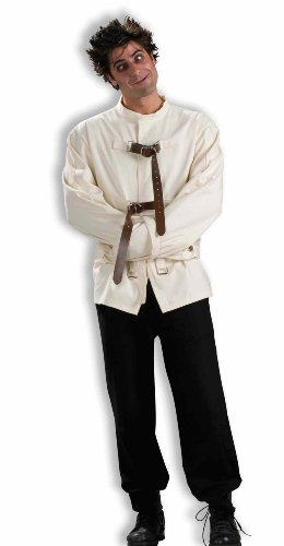 Mental Patient Halloween Costume (Men's Straight Jacket Costume, White, One Size)
