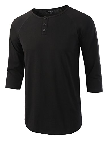 3/4 Sleeve Henley Tee - HETHCODE Men's Casual Raglan Fit Soft Baseball 3/4 Sleeve Henley T-Shirts Tee Black XL