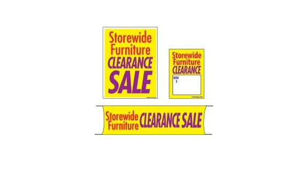 Flooring /& Seasonal Furniture 3 Sizes to Choose from Mini - 4 Piece Sign Kit MKTSFC 4 Piece KitStorewide Furniture Clearance Sale Retail Business Store Signs Advertising