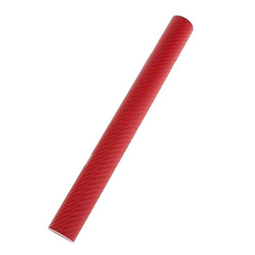 Rouleau De Film Stickers Voiture Feuille De Décor Fibre De Carbone 3d Pellicule De Vinyle - rouge