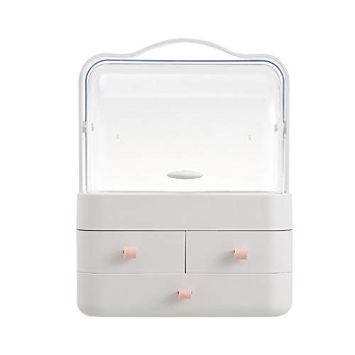 IslandseDust-Proof Desktop Drawer Dresser Rack Portable Cosmetic Storage Box (Pink)