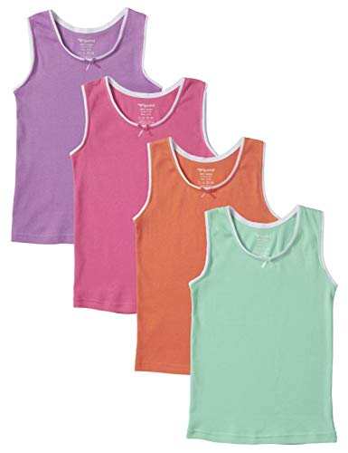 Sportoli Girls Ultra Soft 100% Cotton Assorted Tank Top Undershirts - Size 3/4, Pack of 4