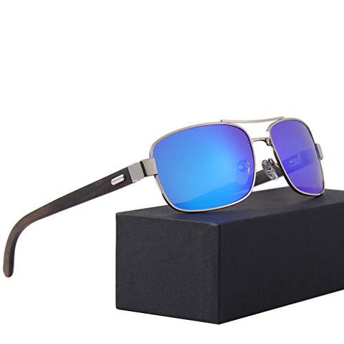 de Azul Gafas Color de Marco clásicas conducción polarizadas Unisex del Gafas sol bambú bambú metálico Gray Gafas x688qa