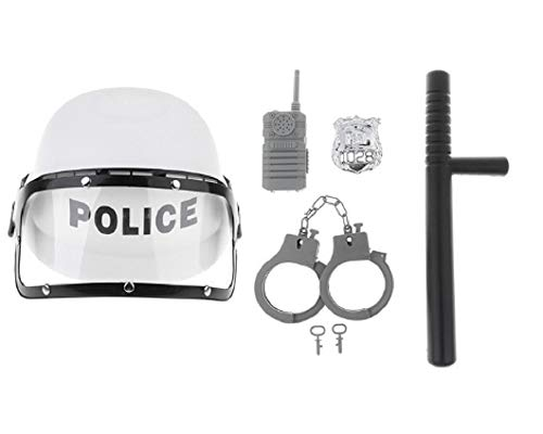 5 Pieces Police Role Play Set - Kid's Officer Motorcycles Cop Helmet, Badge, Cuffs White]()