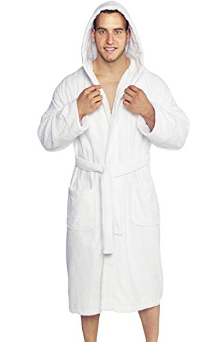 PARADOR Full Length Hooded Terry Bathrobe Unisex, 100% Combed Pure Turkish Cotton, Made in (Cotton Hooded Robe)