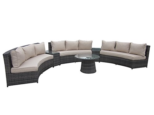 6 Piece Conversation Set,Half Moon Rattan Sofa Set - Taupe (Outdoor Round Sectional Furniture)