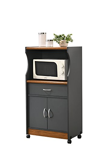 HODEDAH IMPORT HIK77 Grey-Oak Kitchen Cart,