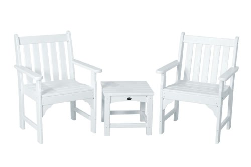 (POLYWOOD PWS142-1-WH Vineyard 3-Piece Garden Chair Set, White)