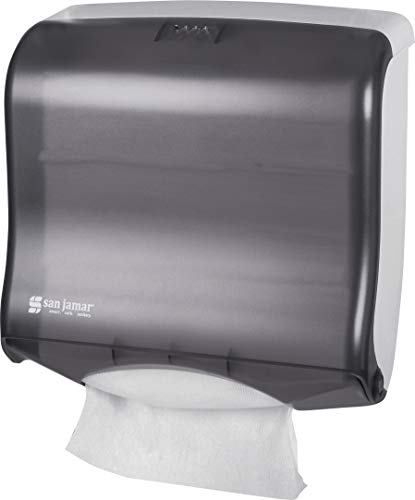 - San Jamar T1755TBK Ultrafold Fusion Folded Towel Dispenser, Fits 400 Multifold/240 C-Fold Towels, Classic, Black Pearl