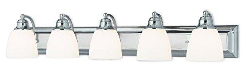 (Livex Lighting 10505-05 Chrome Bath Vanity with Satin Opal Glass)