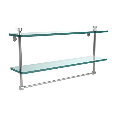 Allied Brass FT-2/22TB-PC Foxtrot Collection 22 Inch Two Tiered Glass Shelf with Integrated Towel Bar, Polished Chrome