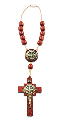 (Catholica Shop Saint Benedict Car Rearview Mirror Wood Decade Rosary with Crucifix Cross - 8.5 Inches)