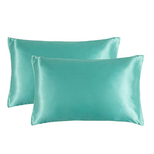 Bedsure Turquoise Satin Pillowcase for Hair and Skin, 2-Pack - Green Pillow Cases Queen Size (20x30 inches) - Satin Pillow Covers with Envelope Closure