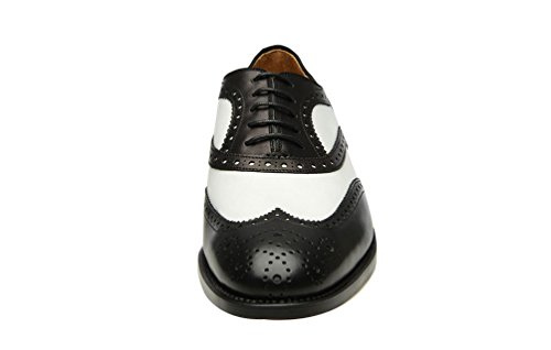 ROYAL WIND Shoes Black Leather Wing Dress Tip White Men's Perforated Spectator Geninue Lace Shoes up CrqFnwdC6