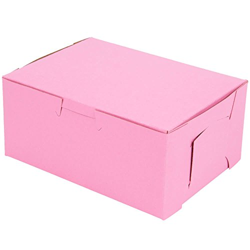 (Pink Disposable Paperboard Cake Box - 8 x 5 x 3 1/2 Bakery Boxes for Gift Packaging With Side Locking Tabs-Made in USA (Pack of)