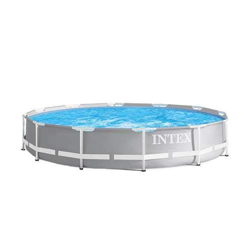 Intex 12 Foot x 30 Inches Durable Prism Steel Frame Above Ground Swimming Pool ()