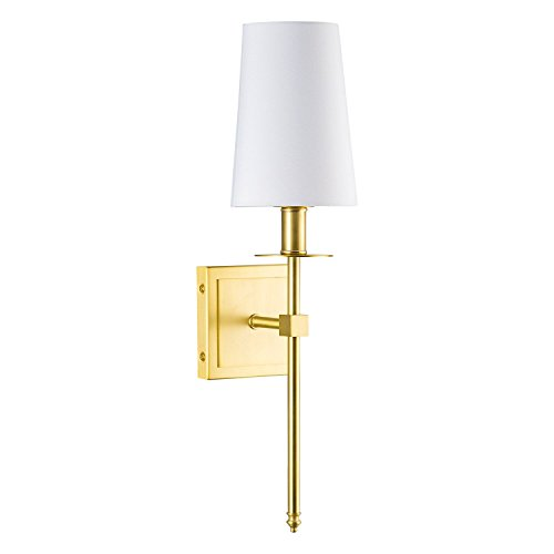 (Torcia Wall Sconce 1-Light Fixture with Fabric Shade - Brushed Brass - Linea di Liara LL-SC425-AB)