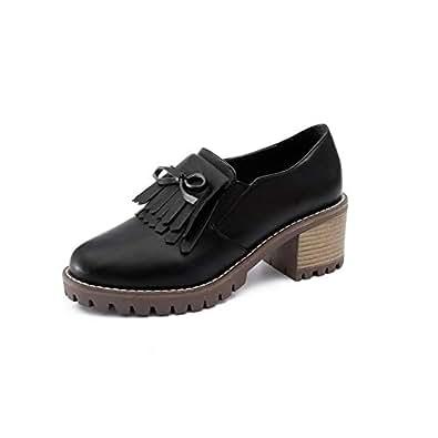 BalaMasa Womens APL12330 Solid Closed-Toe Platform Black Pu Block Heels - 2.5 UK (Lable:34)