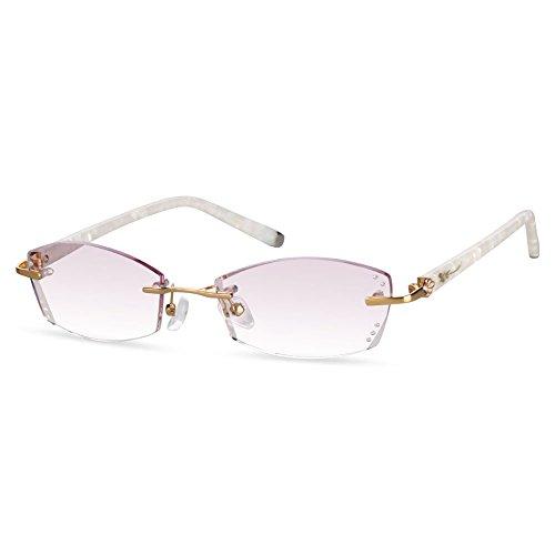 LifeArt Blue Light Blocking Rimless Glasses with Diamond,Computer Reading Glasses,Reduce Headaches&Eyestrain,Stylish for Women/Men +1.00 ()