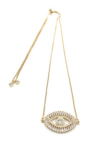 LESLIE BOULES Gold Evil Eye Necklace 18K Gold Plated Sliding Adjustable Chain Choker Jewelry