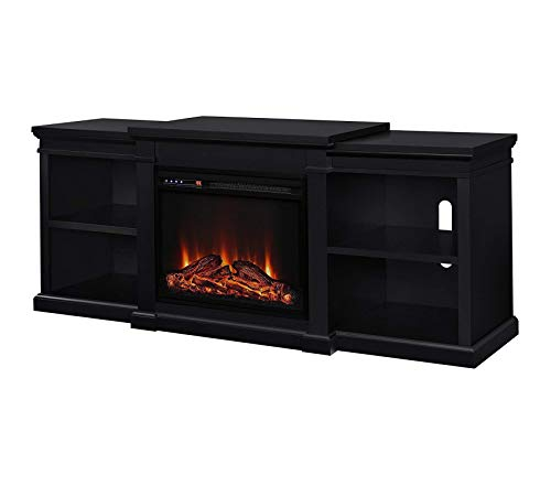 Wood & Style Electric Fireplace TV Stand for TVs up to 70in Black Decor Comfy Living Furniture Deluxe Premium Collection