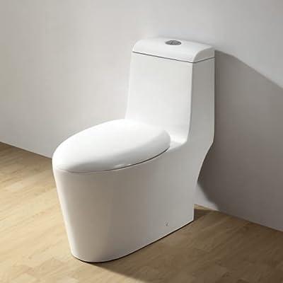 Ariel CO1042 European Elongated One Piece Toilet 1.6 GPF Dual Flush and Soft Clo,