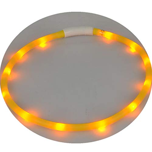 - Livoty Rechargeable USB Waterproof LED Flashing Light Band Safety Pet Dog Collar (Yellow)